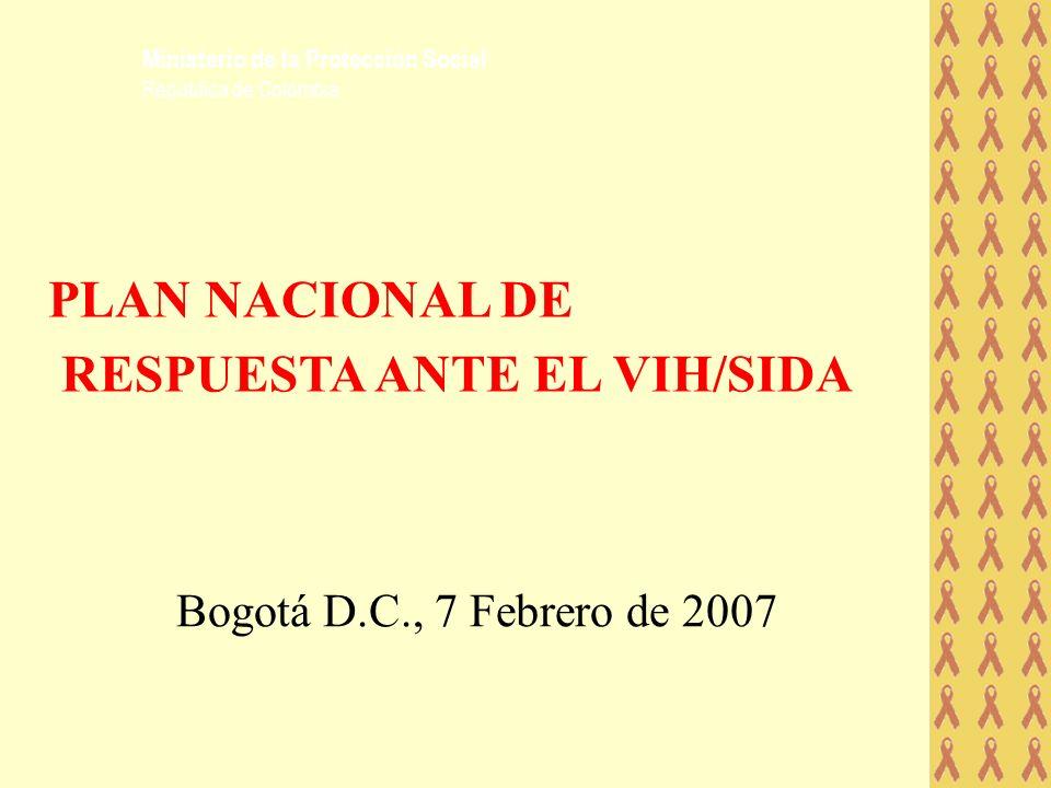 Bogotá D.C., 7 Febrero de 2007 PLAN NACIONAL DE RESPUESTA ANTE EL VIH/SIDA