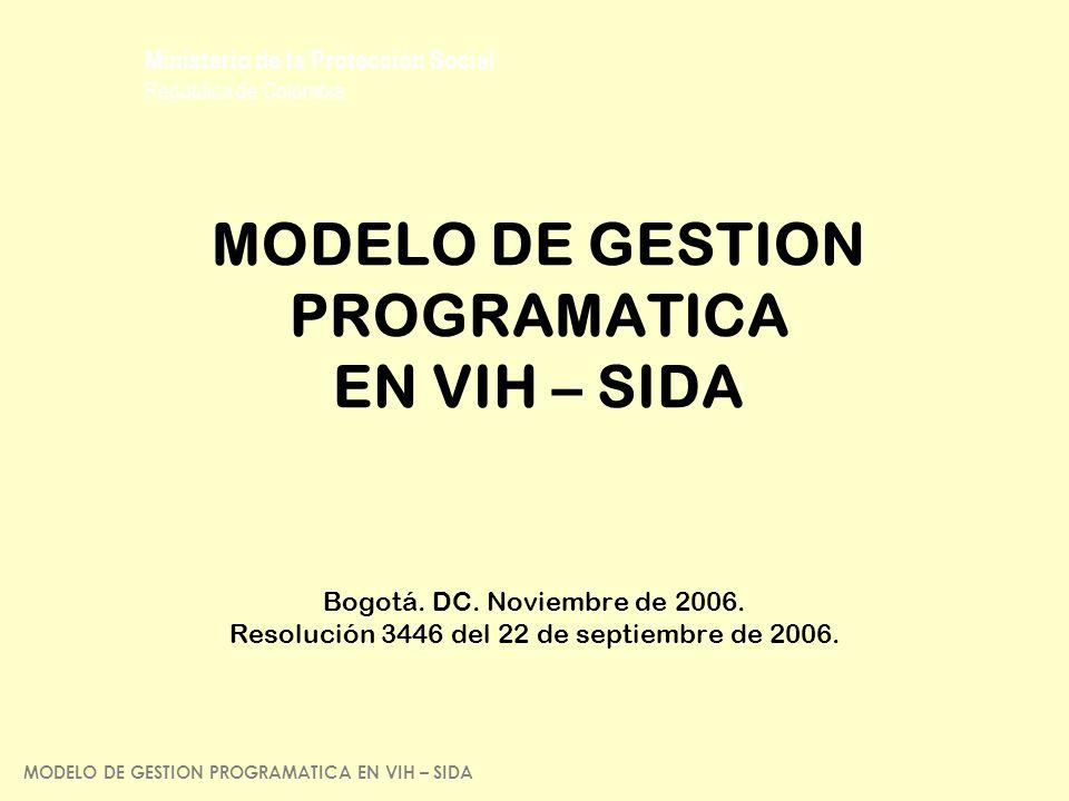 Ministerio de la Protección Social República de Colombia MODELO DE GESTION PROGRAMATICA EN VIH – SIDA Bogotá. DC. Noviembre de 2006. Resolución 3446 d