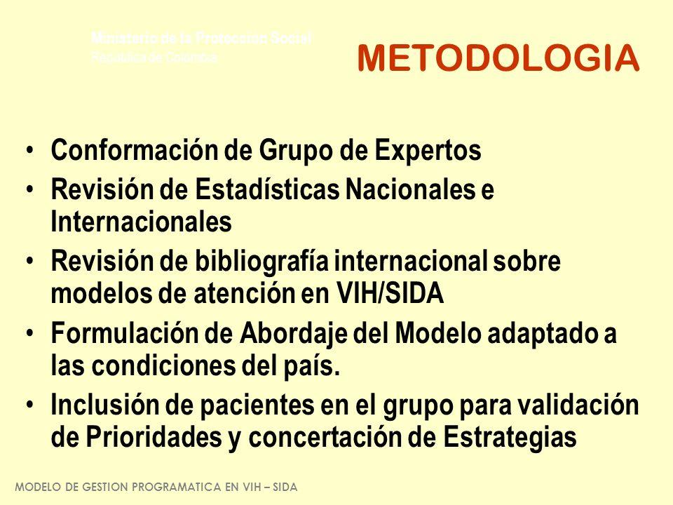 Ministerio de la Protección Social República de Colombia METODOLOGIA Conformación de Grupo de Expertos Revisión de Estadísticas Nacionales e Internaci