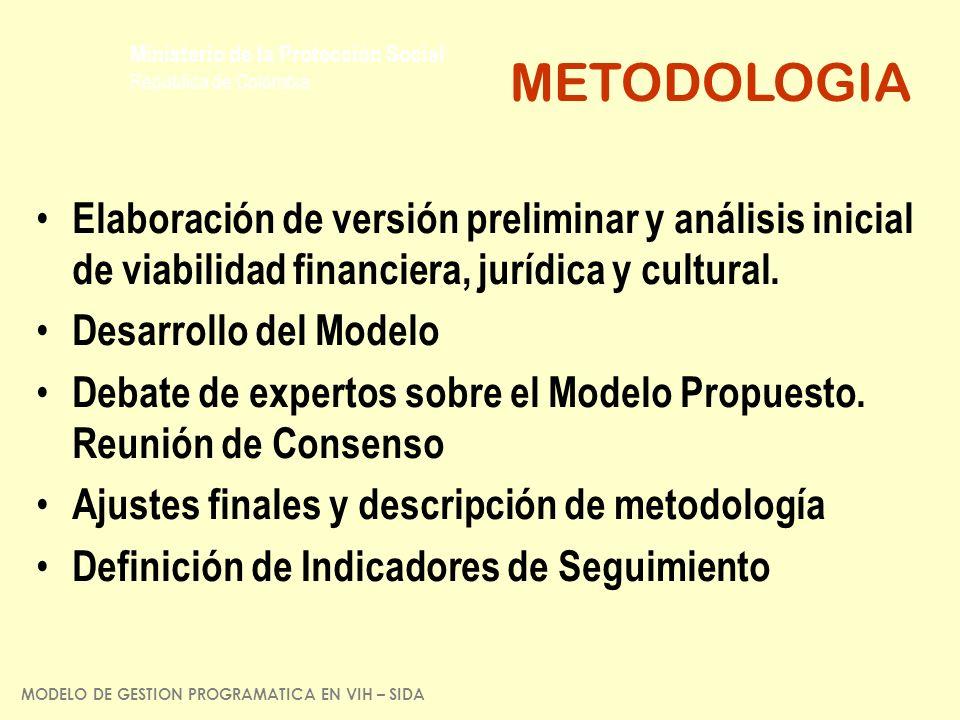 Ministerio de la Protección Social República de Colombia Elaboración de versión preliminar y análisis inicial de viabilidad financiera, jurídica y cul