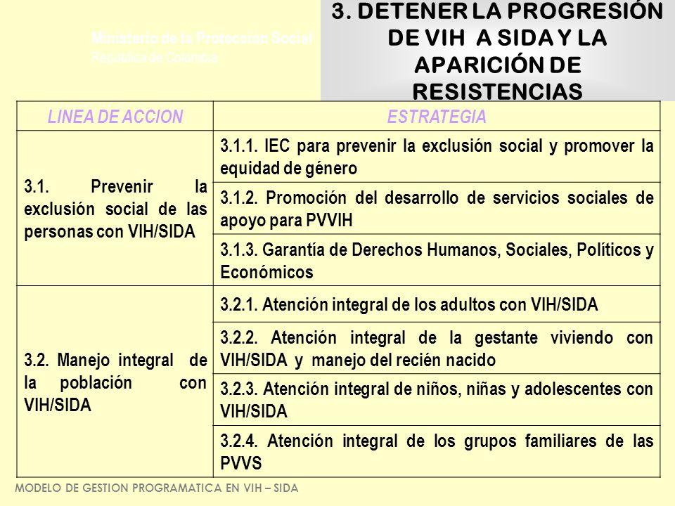 Ministerio de la Protección Social República de Colombia 3. DETENER LA PROGRESIÓN DE VIH A SIDA Y LA APARICIÓN DE RESISTENCIAS LINEA DE ACCIONESTRATEG