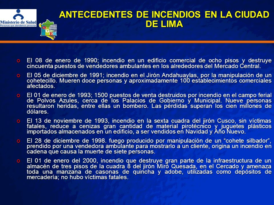 Implementación del sistema de vigilancia epidemiológica posterior al Incendio de Mesa Redonda Días promedio de estancia en hospitales de Lima Incendio de mesa redonda, 03 al 09 de Marzo del 2002,