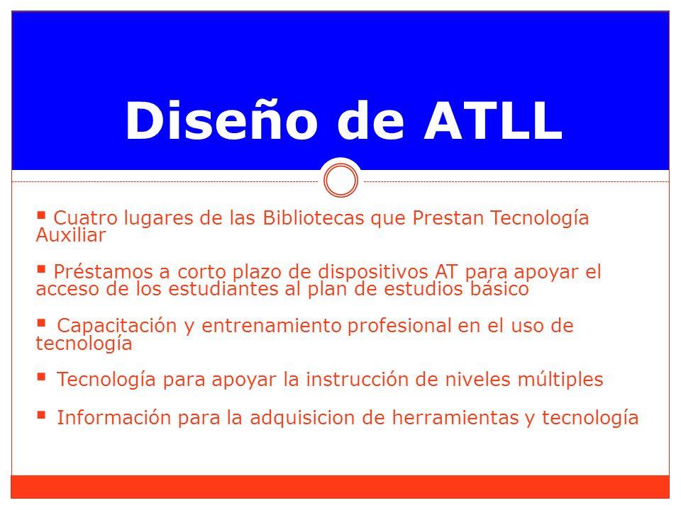 Diseño de ATLL Cuatro lugares de las Bibliotecas que Prestan Tecnología Auxiliar Préstamos a corto plazo de dispositivos AT para apoyar el acceso de los estudiantes al plan de estudios básico Capacitación y entrenamiento profesional en el uso de tecnología Tecnología para apoyar la instrucción de niveles múltiples Información para la adquisicion de herramientas y tecnología