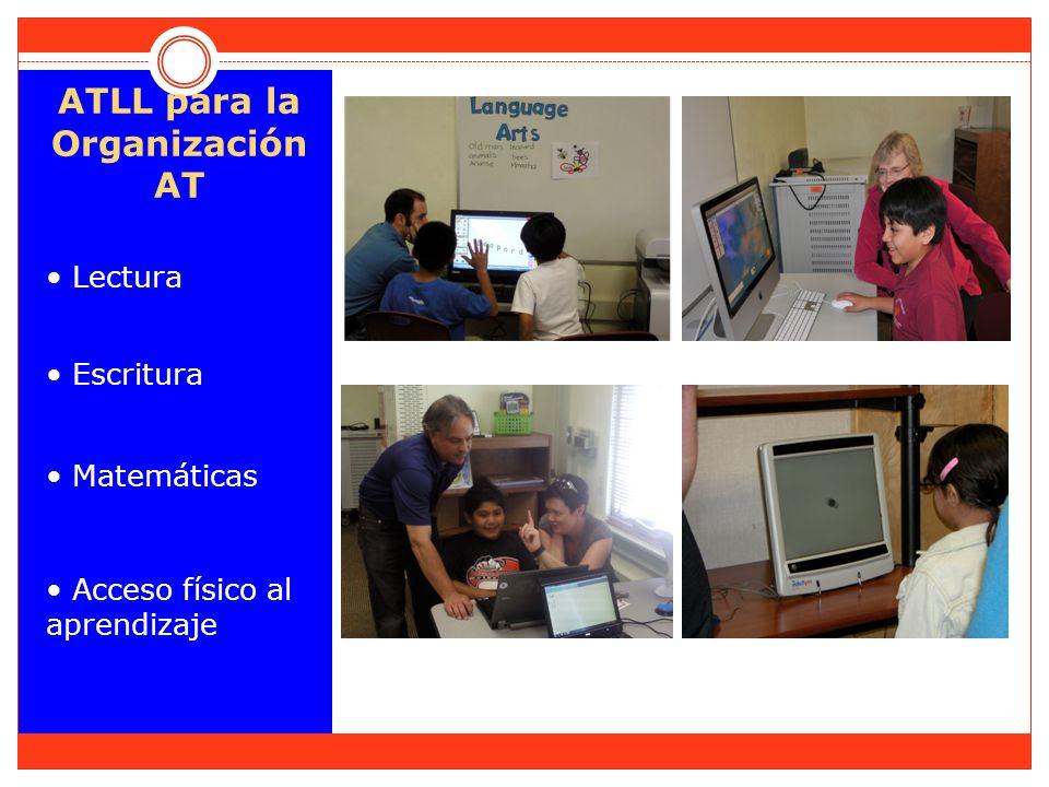 ATLL para la Organización AT Lectura Escritura Matemáticas Acceso físico al aprendizaje