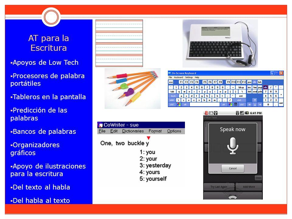 AT para la Escritura Apoyos de Low Tech Procesores de palabra portátiles Tableros en la pantalla Predicción de las palabras Bancos de palabras Organizadores gráficos Apoyo de ilustraciones para la escritura Del texto al habla Del habla al texto