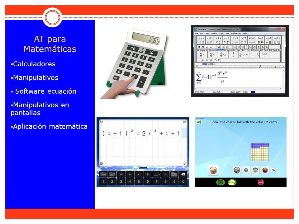 AT para Matemáticas Calculadores Manipulativos Software ecuación Manipulativos en pantallas Aplicación matemática