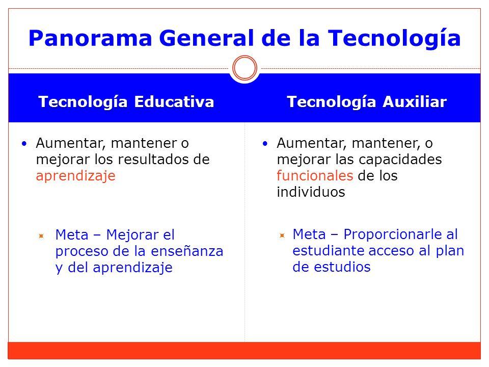 Tecnología Educativa Tecnología Auxiliar Aumentar, mantener o mejorar los resultados de aprendizaje Meta – Mejorar el proceso de la enseñanza y del ap
