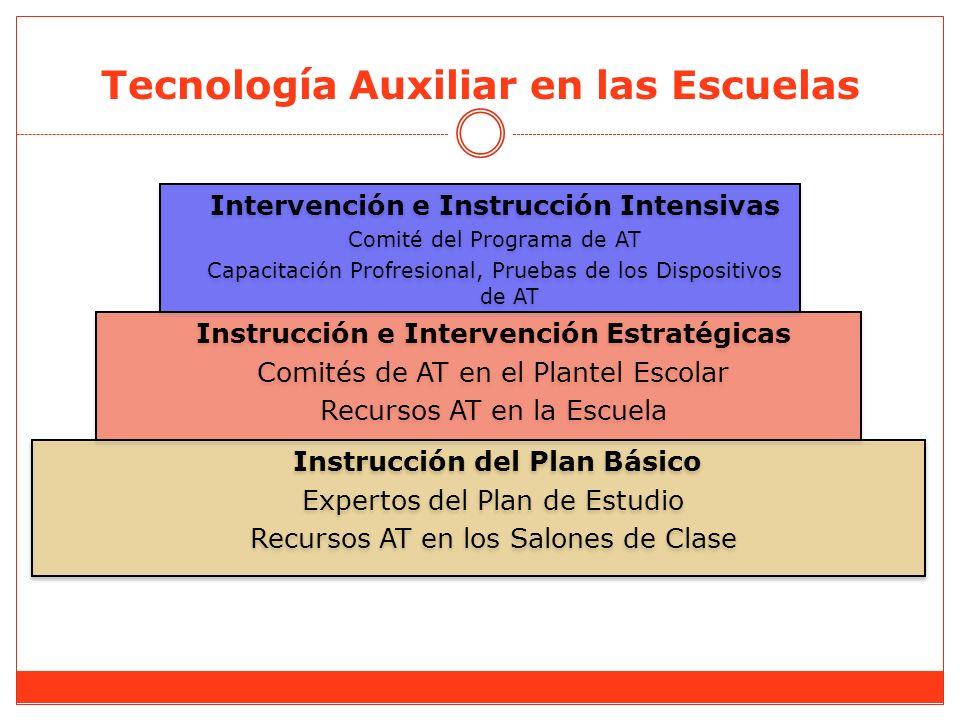 Tecnología Auxiliar en las Escuelas Instrucción del Plan Básico Expertos del Plan de Estudio Recursos AT en los Salones de Clase Instrucción del Plan