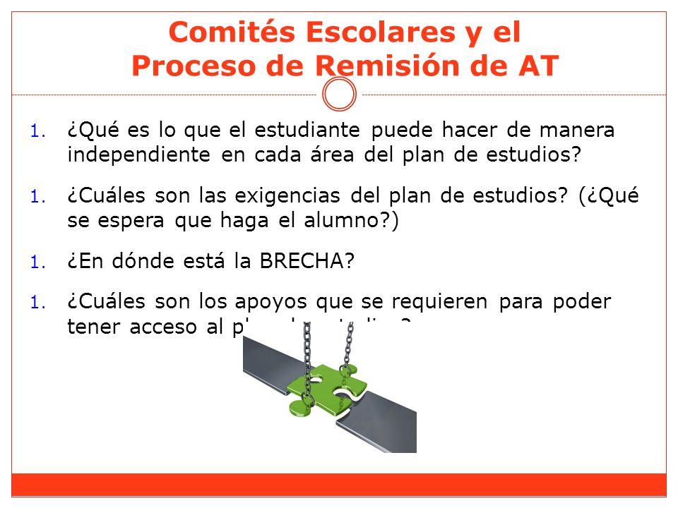 Comités Escolares y el Proceso de Remisión de AT 1. ¿Qué es lo que el estudiante puede hacer de manera independiente en cada área del plan de estudios