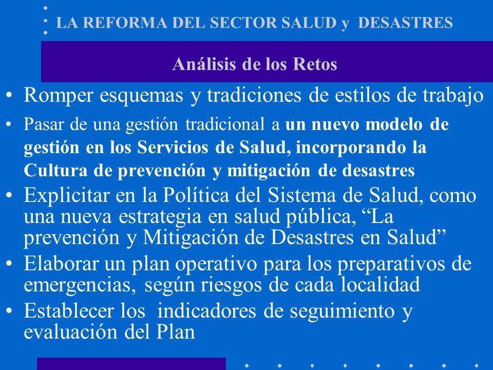 LA REFORMA DEL SECTOR SALUD y DESASTRES Análisis de Problemas Falta de Normativa Nacional que defina el rol del MINSA Ausencia de trabajo sistematizad