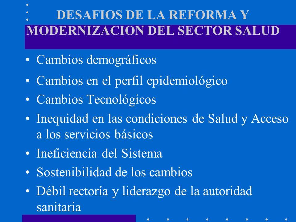 LA REFORMA DEL SECTOR SALUD Aspectos de la última generación de Reformas Búsqueda de eficiencia, equidad y calidad Extensión de cobertura de los servicios Oferta de servicios públicos a privados Creación de empresas públicas de salud Separación de funciones de financiamiento, provisión y regulación