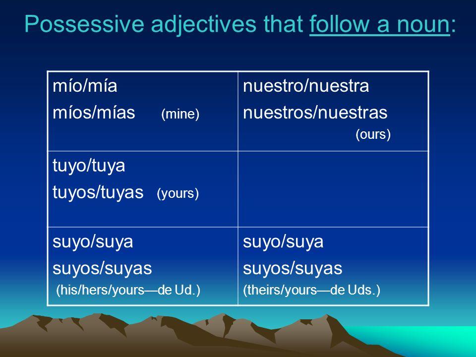 Possessive adjectives that follow a noun: mío/mía míos/mías (mine) nuestro/nuestra nuestros/nuestras (ours) tuyo/tuya tuyos/tuyas (yours) suyo/suya su