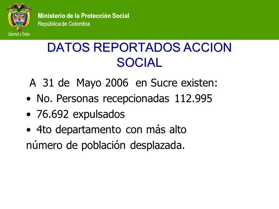Ministerio de la Protección Social República de Colombia DATOS REPORTADOS ACCION SOCIAL A 31 de Mayo 2006 en Sucre existen: No.