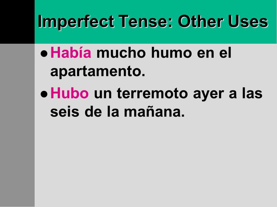 Imperfect Tense: Other Uses Había mucho humo en el apartamento.