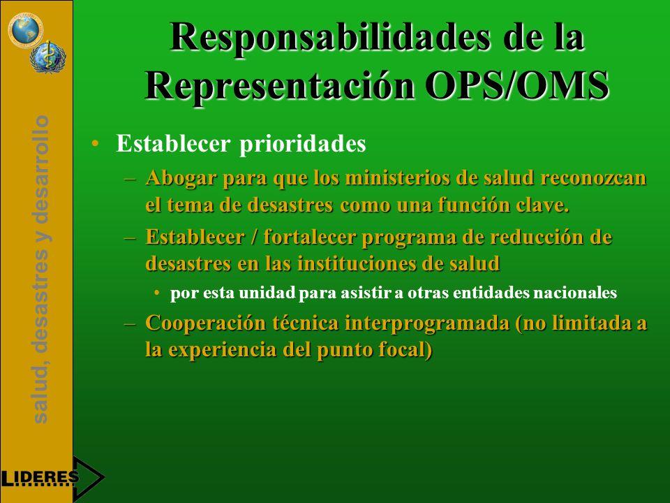 salud, desastres y desarrollo Responsabilidades de la Representación OPS/OMS Establecer prioridades –Abogar para que los ministerios de salud reconozc