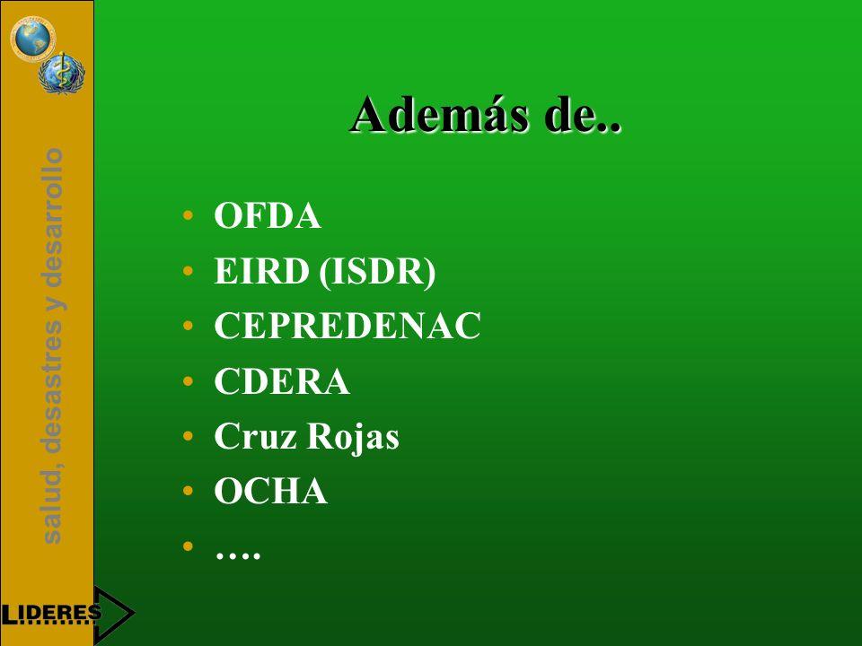salud, desastres y desarrollo Además de.. OFDA EIRD (ISDR) CEPREDENAC CDERA Cruz Rojas OCHA ….