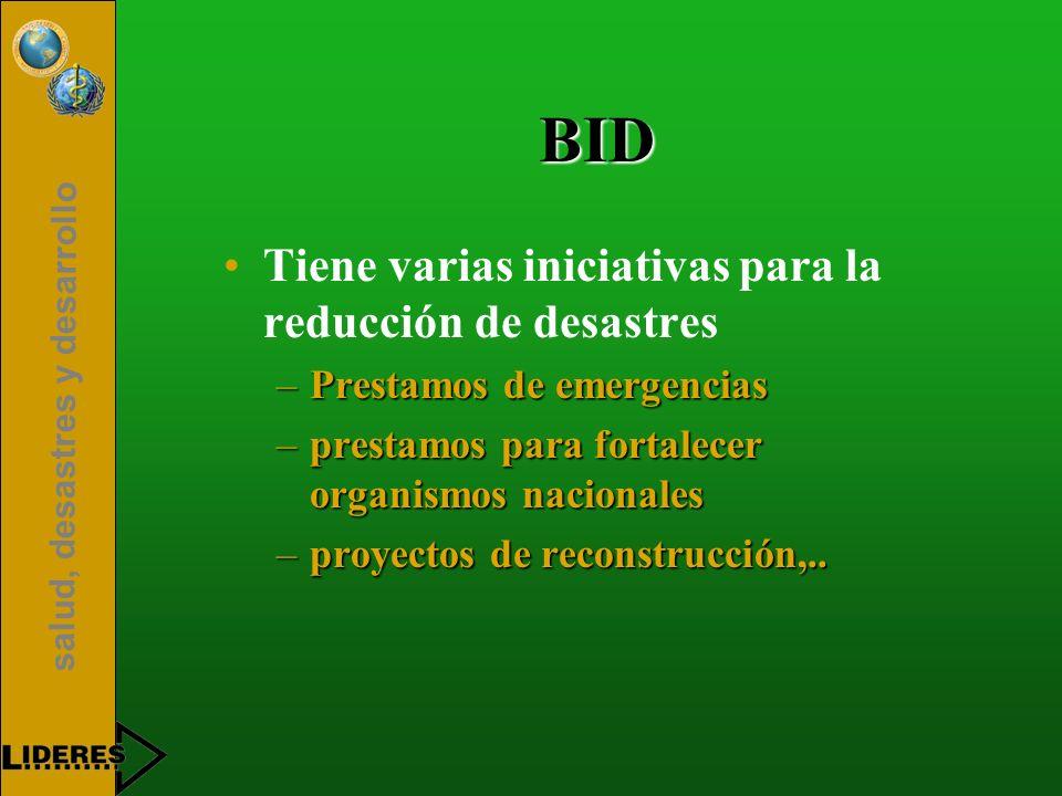 salud, desastres y desarrollo BID Tiene varias iniciativas para la reducción de desastres –Prestamos de emergencias –prestamos para fortalecer organis