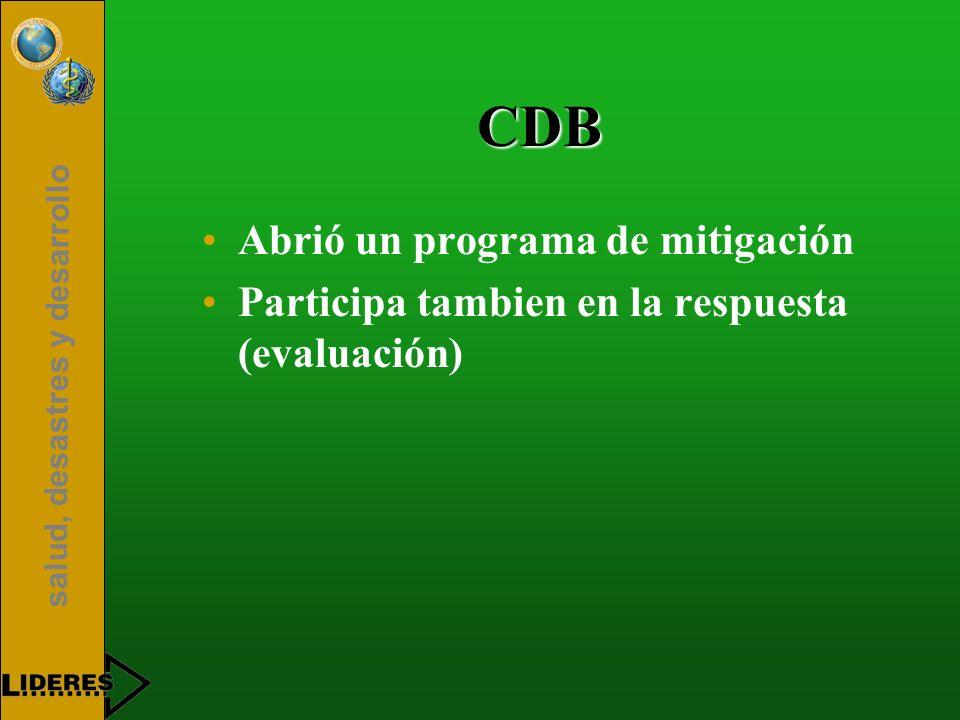 salud, desastres y desarrollo CDB Abrió un programa de mitigación Participa tambien en la respuesta (evaluación)