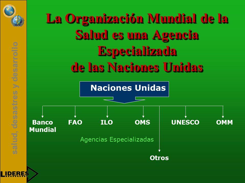 salud, desastres y desarrollo La Organización Mundial de la Salud es una Agencia Especializada de las Naciones Unidas Banco Mundial FAOILOOMSUNESCOOMM