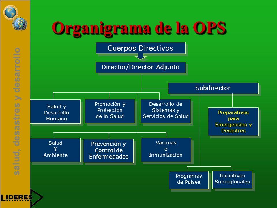 salud, desastres y desarrollo Organigrama de la OPS Cuerpos Directivos Director/Director Adjunto Subdirector Salud y Desarrollo Humano Promoción y Pro