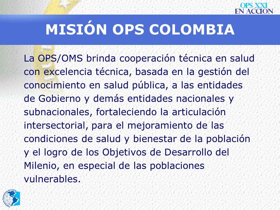 VISIÓN OPS COLOMBIA En el 2010, la OPS/OMS se mantendrá en Colombia como el organismo líder de la Cooperación Técnica en salud, promoviendo, apoyando