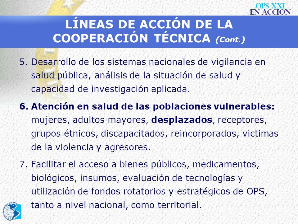 LÍNEAS DE ACCIÓN DE LA COOPERACIÓN TÉCNICA (9) 1.Construcción de sinergias con los actores nacionales e internacionales comprometidos con el sector en