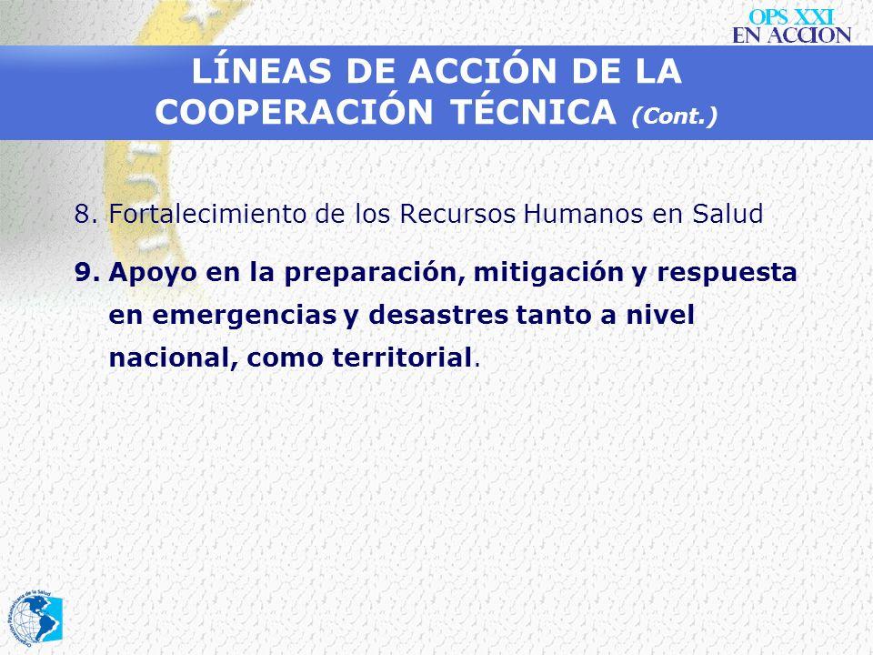 LÍNEAS DE ACCIÓN DE LA COOPERACIÓN TÉCNICA (Cont.) 5.Desarrollo de los sistemas nacionales de vigilancia en salud pública, análisis de la situación de