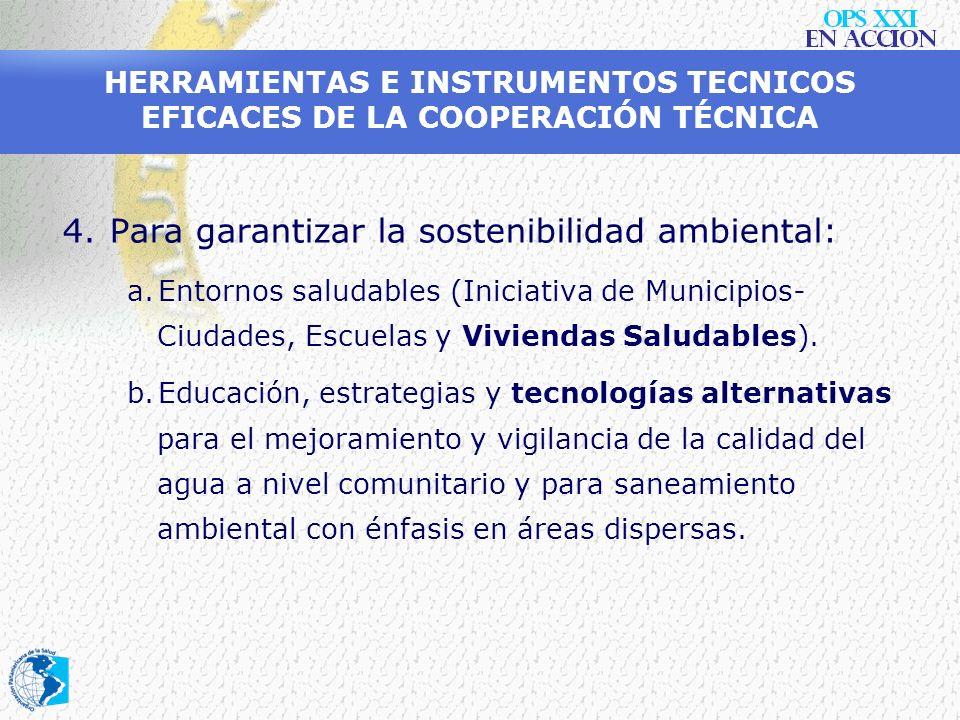 HERRAMIENTAS E INSTRUMENTOS TECNICOS EFICACES DE LA COOPERACIÓN TÉCNICA 3.Para combatir las enfermedades transmisibles de mayor impacto: d.Implementac