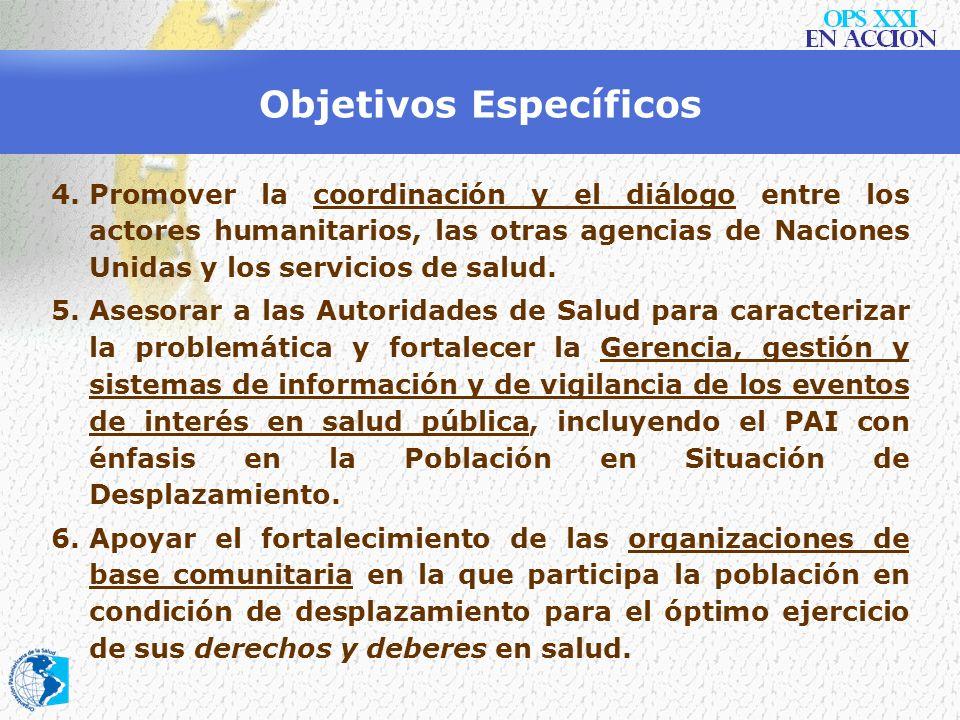 Objetivos Específicos 1.Apoyar al Ministerio de la Protección Social y al Gobierno Nacional y territorial en el fortalecimiento institucional en temas