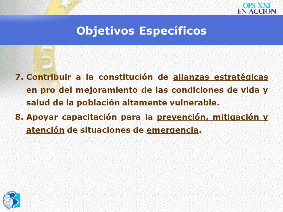 Objetivos Específicos 4.Promover la coordinación y el diálogo entre los actores humanitarios, las otras agencias de Naciones Unidas y los servicios de
