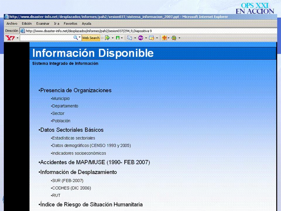 Información URL: www.colombiassh.org/info Acceso: regístrese para obtener acceso, como entidad o como individuo. Presentaciones: –Sistema de informaci