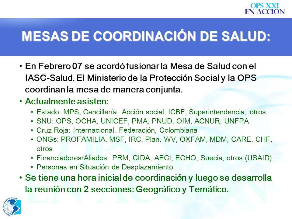 MESAS DE COORDINACIÓN DE SALUD: Lugar de Mediación-Conexión para coordinar y no duplicar. Sus labores están articuladas con las políticas del MPS. Se