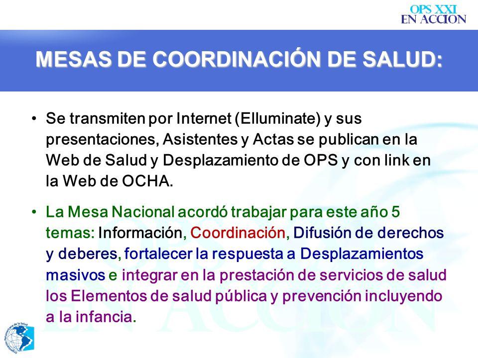MESAS DE COORDINACIÓN DE SALUD: En Febrero 07 se acordó fusionar la Mesa de Salud con el IASC-Salud. El Ministerio de la Protección Social y la OPS co