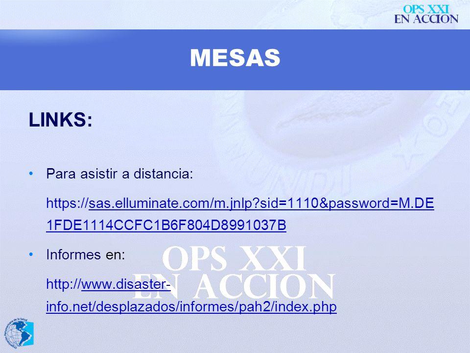 MESAS DE COORDINACIÓN DE SALUD: Se transmiten por Internet (Elluminate) y sus presentaciones, Asistentes y Actas se publican en la Web de Salud y Desp