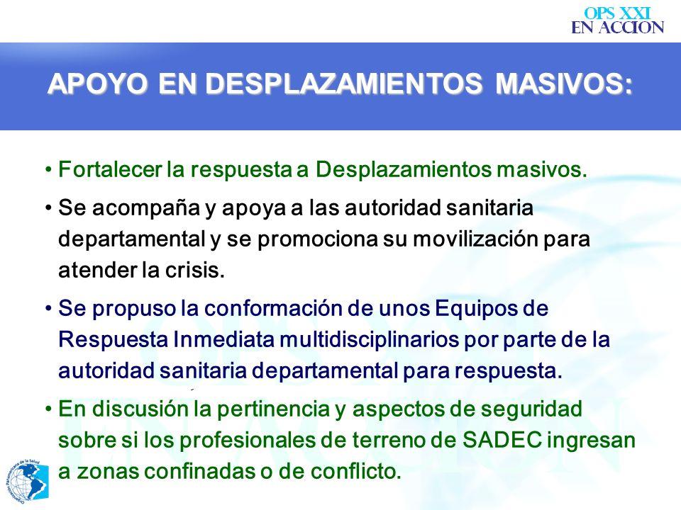 MESAS DE COORDINACIÓN DE SALUD: Proyección: Realización de mesas similares pero más operativas a nivel territorial en los departamentos con presencia