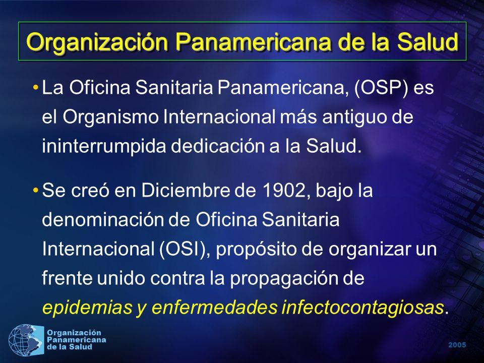 2005 Organización Panamericana de la Salud Organización Panamericana de la Salud La Oficina Sanitaria Panamericana, (OSP) es el Organismo Internacional más antiguo de ininterrumpida dedicación a la Salud.
