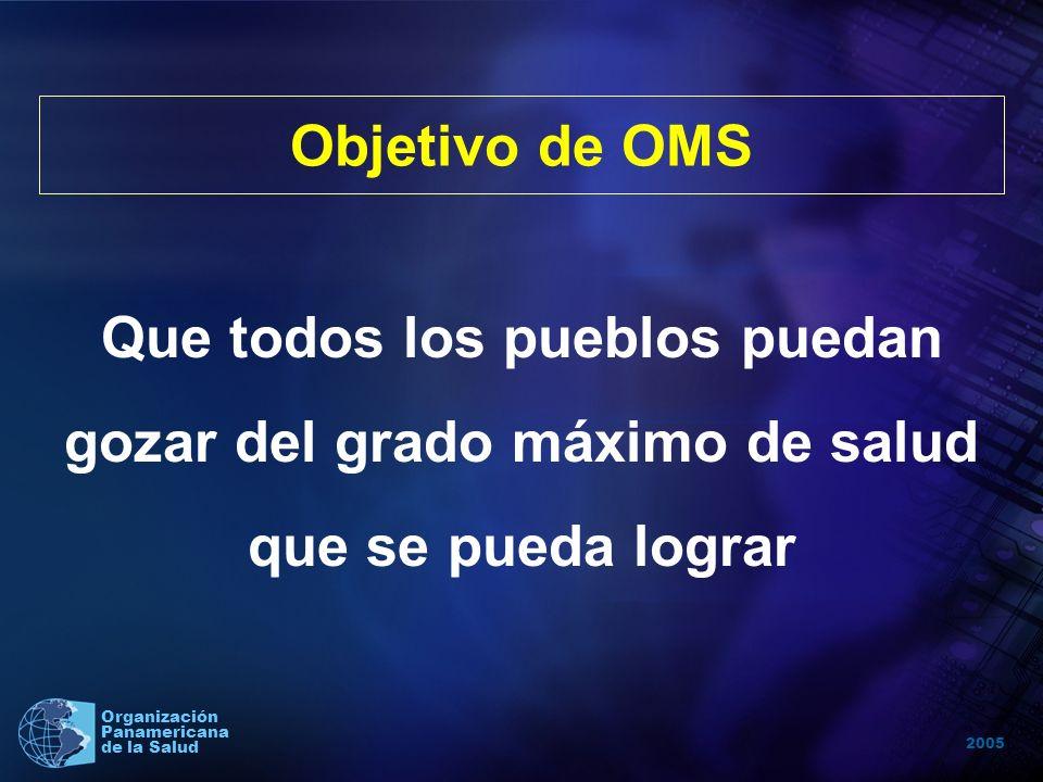 2005 Organización Panamericana de la Salud Que todos los pueblos puedan gozar del grado máximo de salud que se pueda lograr Objetivo de OMS