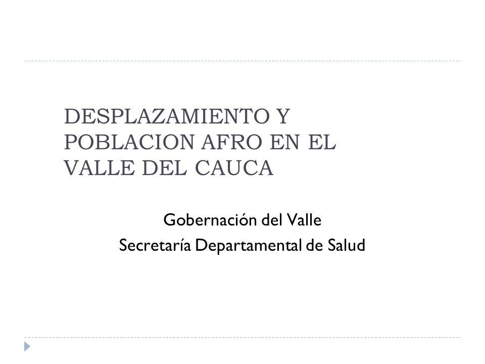DESPLAZAMIENTO Y POBLACION AFRO EN EL VALLE DEL CAUCA Gobernación del Valle Secretaría Departamental de Salud