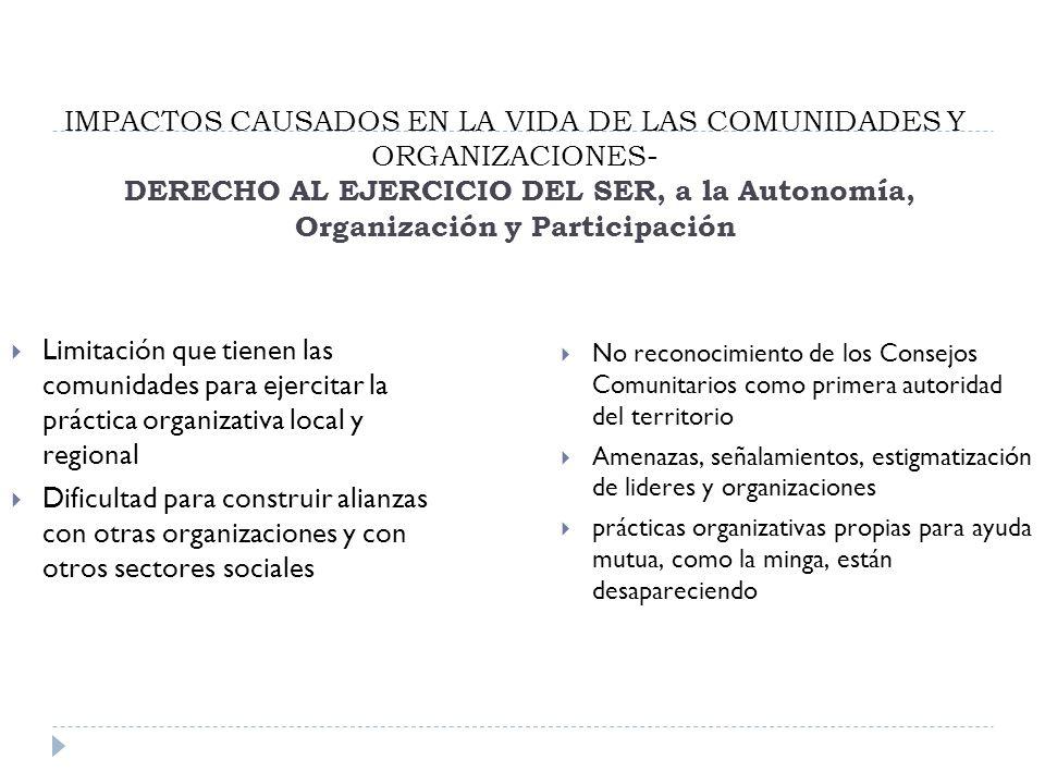IMPACTOS CAUSADOS EN LA VIDA DE LAS COMUNIDADES Y ORGANIZACIONES- DERECHO AL EJERCICIO DEL SER, a la Autonomía, Organización y Participación Limitación que tienen las comunidades para ejercitar la práctica organizativa local y regional Dificultad para construir alianzas con otras organizaciones y con otros sectores sociales No reconocimiento de los Consejos Comunitarios como primera autoridad del territorio Amenazas, señalamientos, estigmatización de lideres y organizaciones prácticas organizativas propias para ayuda mutua, como la minga, están desapareciendo