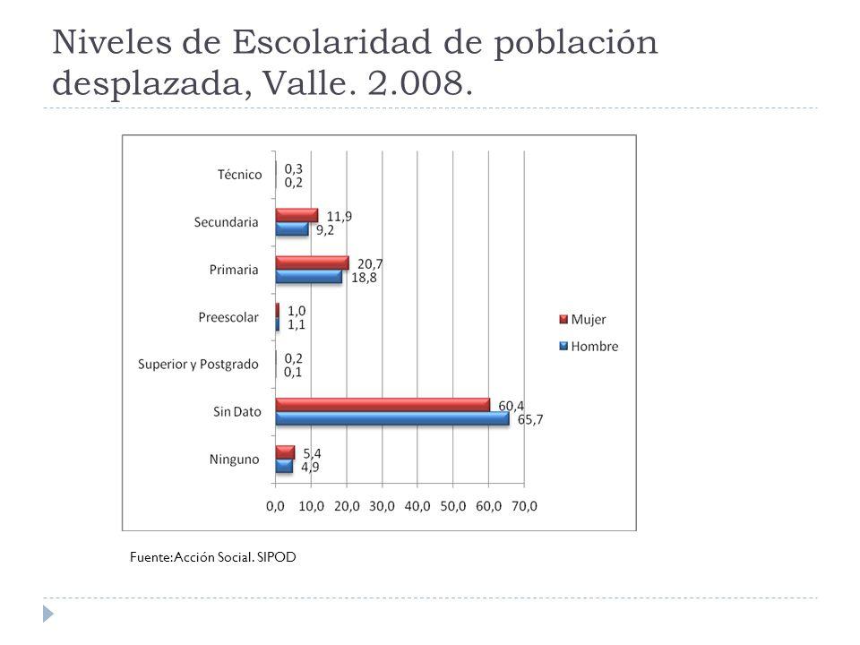 Niveles de Escolaridad de población desplazada, Valle. 2.008. Fuente: Acción Social. SIPOD