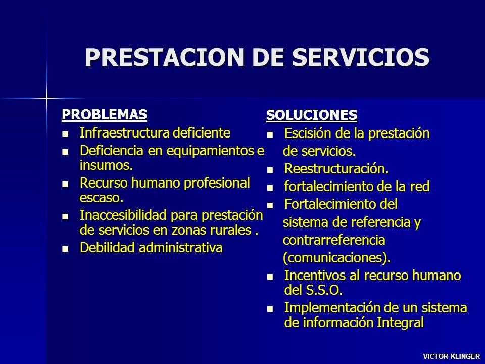 PRESTACION DE SERVICIOS PROBLEMAS Infraestructura deficiente Infraestructura deficiente Deficiencia en equipamientos e insumos. Deficiencia en equipam