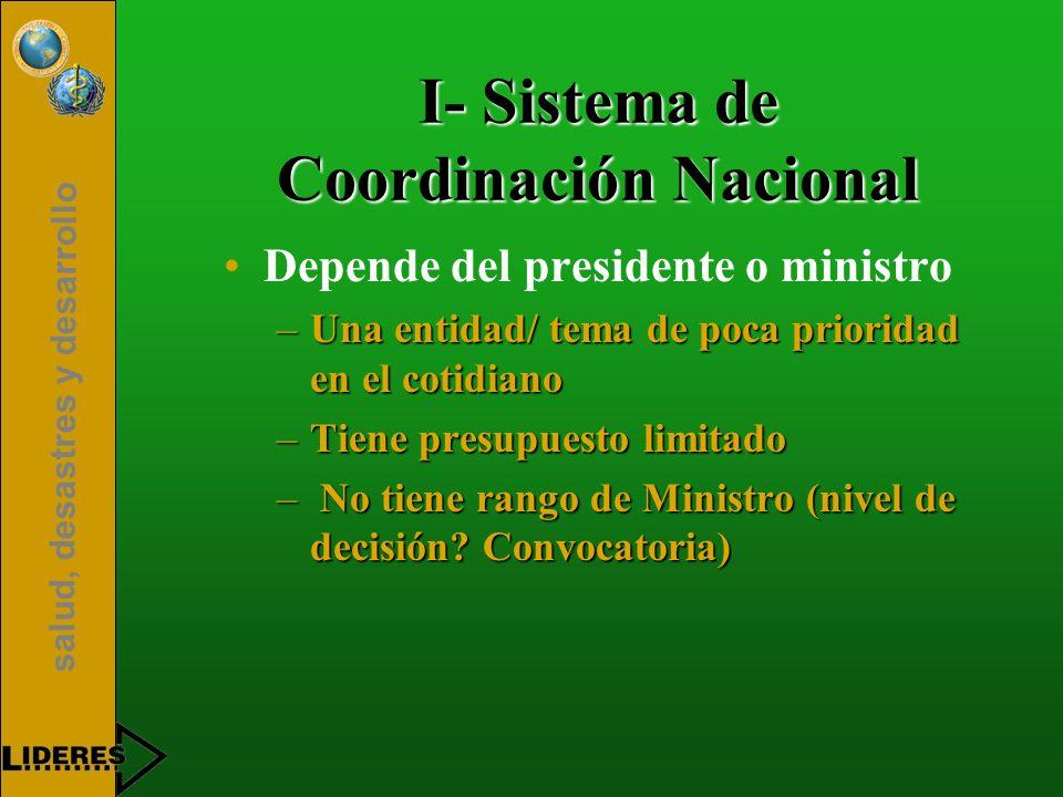 salud, desastres y desarrollo I- Sistema de Coordinación Nacional Depende del presidente o ministro –Una entidad/ tema de poca prioridad en el cotidia