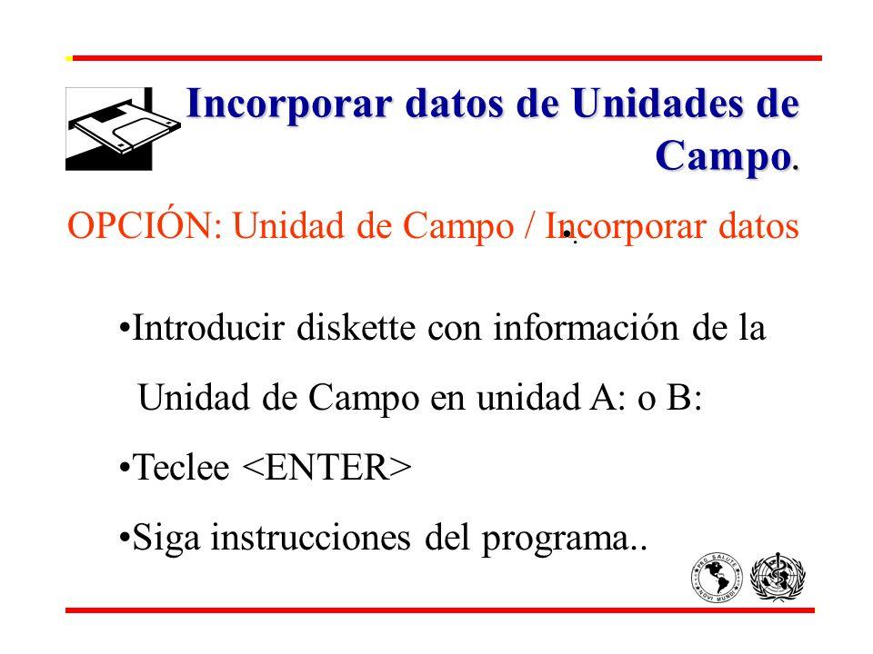 Incorporar datos de Unidades de Campo.. OPCIÓN: Unidad de Campo / Incorporar datos Introducir diskette con información de la Unidad de Campo en unidad