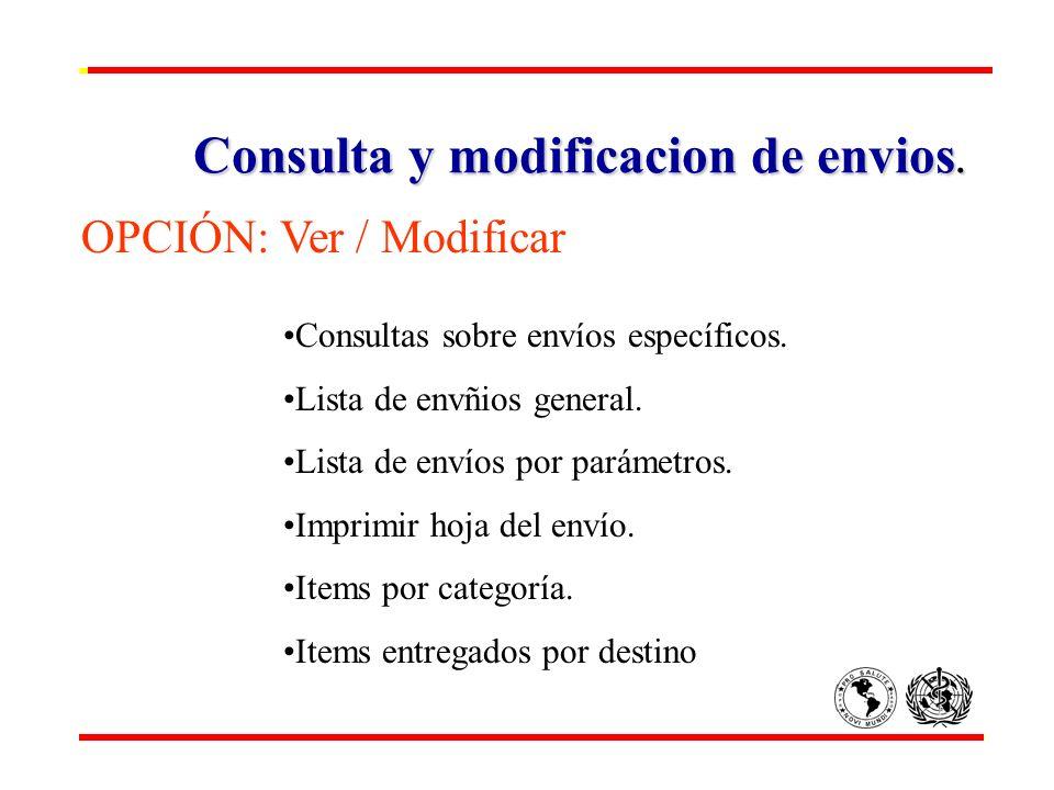 Consulta y modificacion de envios. OPCIÓN: Ver / Modificar Consultas sobre envíos específicos. Lista de envñios general. Lista de envíos por parámetro