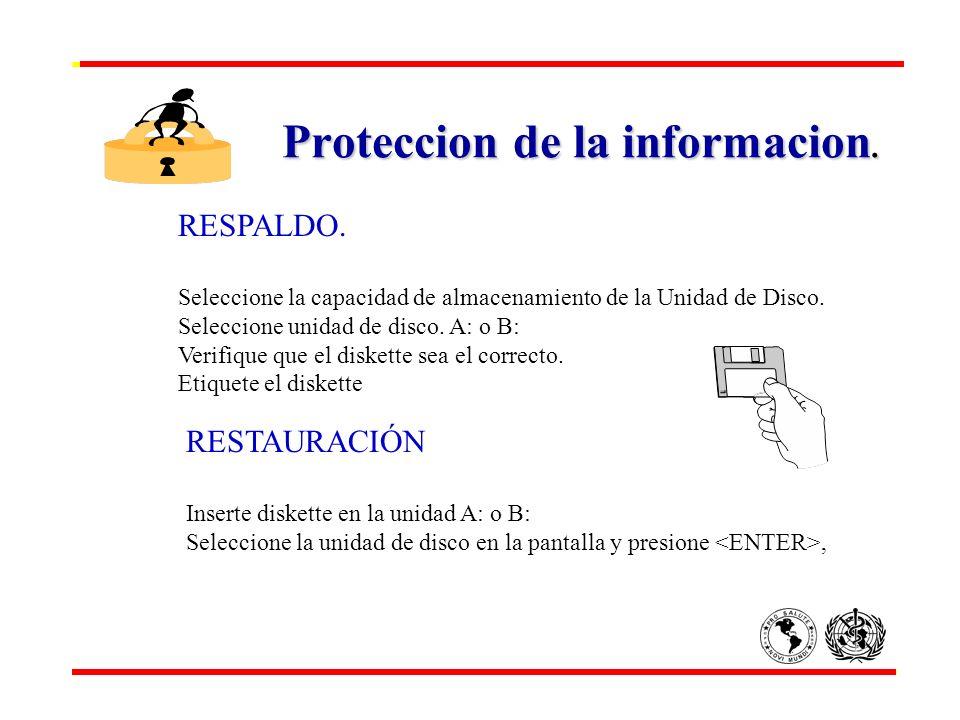 Proteccion de la informacion. RESPALDO. Seleccione la capacidad de almacenamiento de la Unidad de Disco. Seleccione unidad de disco. A: o B: Verifique