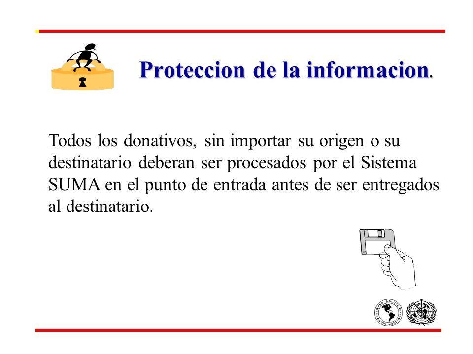 Proteccion de la informacion. Todos los donativos, sin importar su origen o su destinatario deberan ser procesados por el Sistema SUMA en el punto de