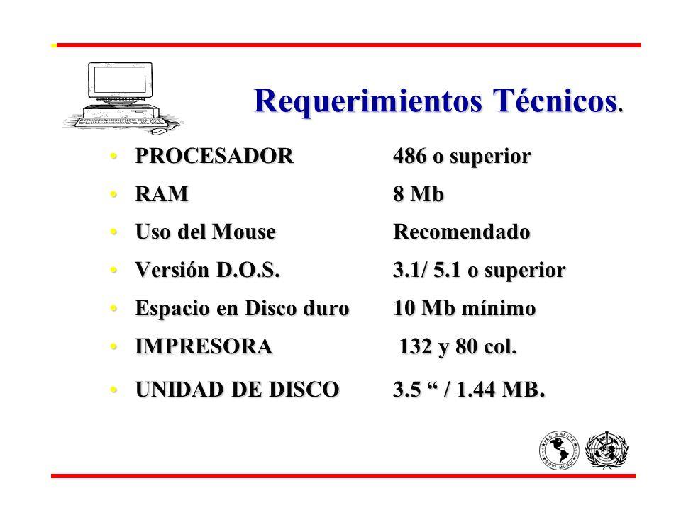 Requerimientos Técnicos. Requerimientos Técnicos. PROCESADOR486 o superiorPROCESADOR486 o superior RAM8 MbRAM8 Mb Uso del MouseRecomendadoUso del Mous