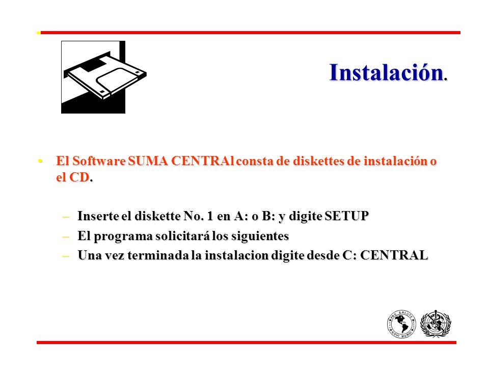 Instalación. Instalación. El Software SUMA CENTRAl consta de diskettes de instalación o el CD.El Software SUMA CENTRAl consta de diskettes de instalac