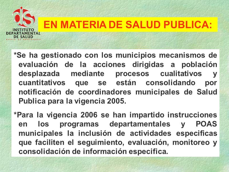 *Se ha gestionado con los municipios mecanismos de evaluación de la acciones dirigidas a población desplazada mediante procesos cualitativos y cuantit