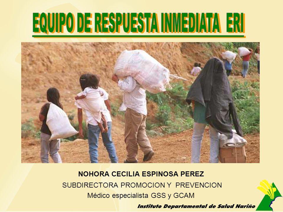 NOHORA CECILIA ESPINOSA PEREZ SUBDIRECTORA PROMOCION Y PREVENCION Médico especialista GSS y GCAM
